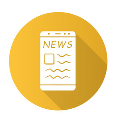online news yellow flat design long shadow glyph vector image
