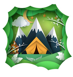 pape summer landsape mountain tent vector image