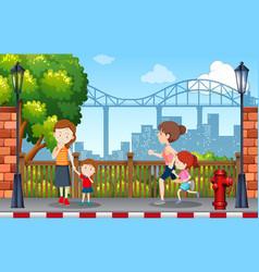 people in park scene vector image