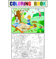 Picnic in nature coloring book for children vector