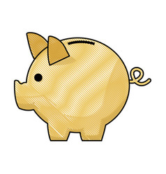 piggy bank safe money deposit concept vector image