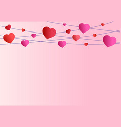 pink background valentines day red and pink vector image