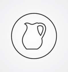 Pitcher outline symbol dark on white background vector