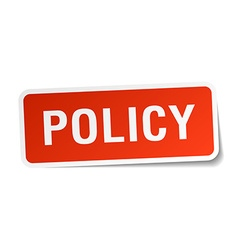 Policy red square sticker isolated on white vector