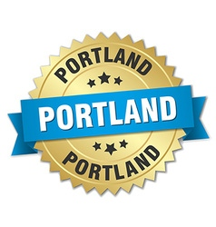 Portland round golden badge with blue ribbon vector