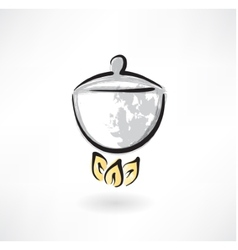 pot on fire grunge icon vector image