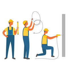 Repair works workers with construction tools vector