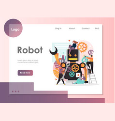 robot website landing page design template vector image