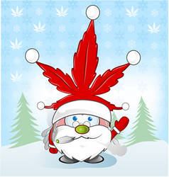 santa cluas whit marijuana hat over snoflacks vector image