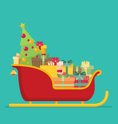 Santa sleigh with piles of presents vector