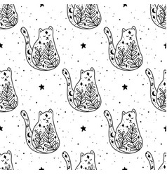 seamless pattern black witch cat mystical animal vector image