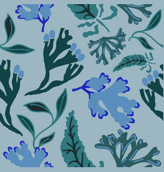 Seamless pattern with abstract seaweed hand drawn vector
