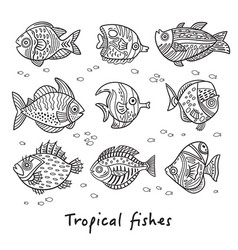 Set of ink tropical fishes vector