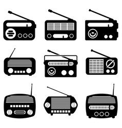 set of radio icons vector image