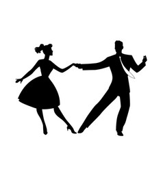 Silhouette couple wearing retro clothes vector