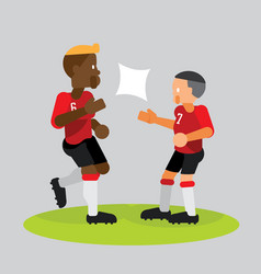 soccer players team partner celebrate with high vector image