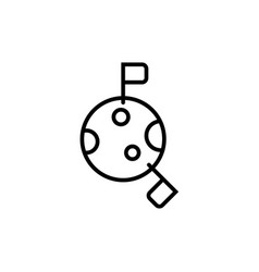 space colonies flag on moon icon simple line vector image