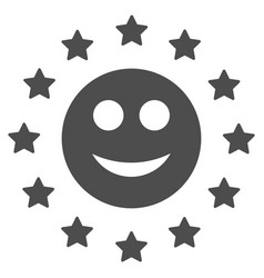 Starred smile flat icon vector