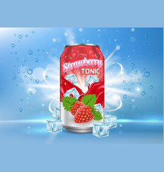 strawberry tonic poster banner template vector image