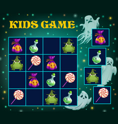 sudoku game halloween puzzle and kid logic play vector image
