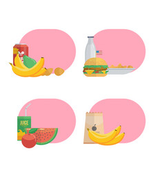 Tasty different food ad pink cloud vector