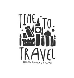 Time to travel logo with traveler accessories vector