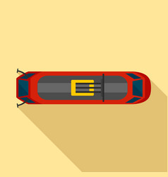 Top view tram icon flat style vector