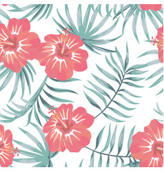 tropical hibiscus and leaves seamless white vector image