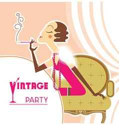 vintage party flapper girl with sigaret vector image