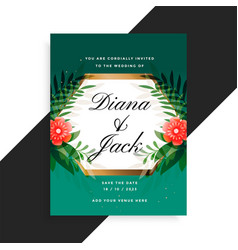wedding invitation floral card design with flower vector image