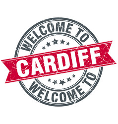 Welcome to cardiff red round vintage stamp vector