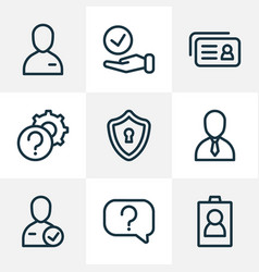 work icons line style set with id question vector image