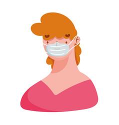 young man character cartoon medical mask covid19 1 vector image