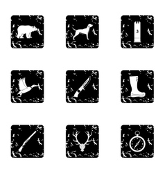 Bird hunting icons set grunge style vector image