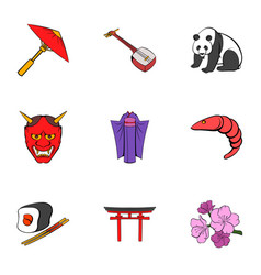 Chinese symbol icons set cartoon style vector