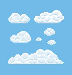 clouds shapes set pixel art 8 bit texture vector image vector image