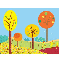 Funny fall landscape with flowers and trees vector