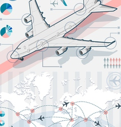 infographic set elements with airplane in various vector image vector image