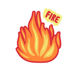 isolated fire sticker bright flame on white vector image