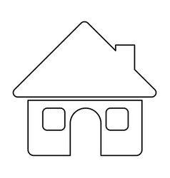 monochrome contour of house with two windows in vector image vector image