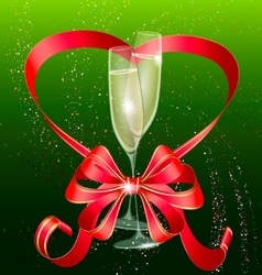 two champagne and red bow vector image vector image