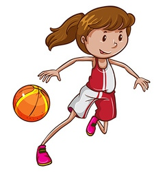 A girl playing basketball vector image
