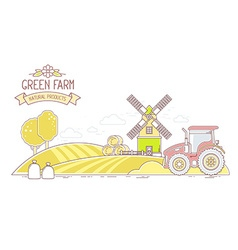 Agribusiness of autumn harvest yellow farm l vector image