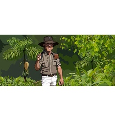 cartoon man traveler goes through the jungle vector image vector image