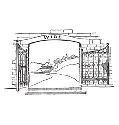 gate passage vintage engraving vector image vector image
