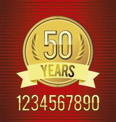 Golden emblem of anniversary vector image vector image