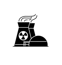 nuclear power plant silhouette icon in flat style vector image vector image