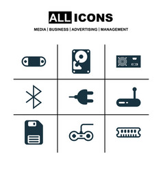 set of 9 computer hardware icons includes router vector image vector image