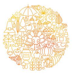 thanksgiving day line icon circle design vector image