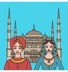 Traditional turkish clothing national middle east vector image vector image